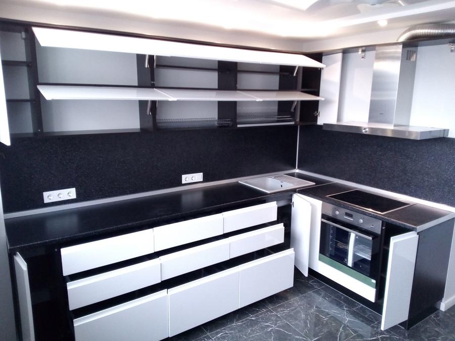 Белый кухонный гарнитур-Кухня МДФ в эмали «Модель 430»-фото2