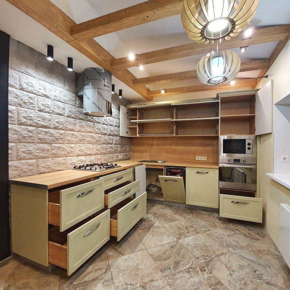 Бежевые кухни-Кухня МДФ в эмали «Модель 519»-фото4