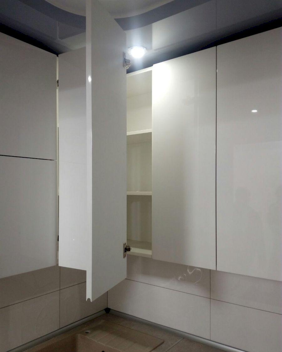 Белый кухонный гарнитур-Кухня МДФ в ПВХ «Модель 657»-фото4